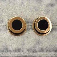 Toppkvalitet Rostfritt stål Lovers Kvinnor Designer Stud Guld Black Drop Oil Örhängen för Party Wedding Hoop Logo Tryckt Partihandel