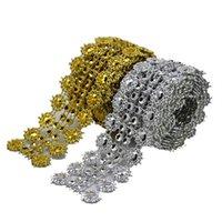 Party Dekoration 1 yard 28mm Vintage Gold Silber Diamant Mesh Wrap Roll Sparkle Rhinestone Kristallband für Hochzeit Bling Wrapper 8