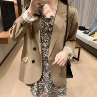 Women's Suits & Blazers Simple Women Solid Teenagers Retro Leisure Ulzzang Outwear Notched Hipster Daily Gentle Females Single Breasted Comf