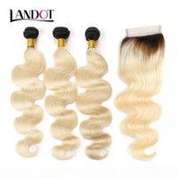 9a Ombre 1b 613 # Color rubio Cierre de cordones con 3 paquetes Brasileño Virgen Human Hair Weave Wave Onda Peruana Malasia India Extensiones