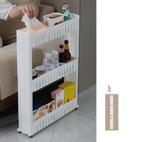 Mobile Shelving Unit Organizer With 3 Large Storage Baskets Slim Slide Out Pantry Rack For Narrow Spaces RT88 Hooks & Rails