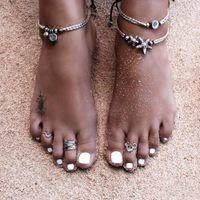Cross-border European and American New Jewelry National Retro Wind Starfish Rune Om Yoga Pendant Anklet Beach Foot Ring