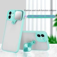 Lens Cover Mirror Bracket Cases For IPhone 11 12 Pro XS Max XR 7 8 Se2020 Anti-fall Shockproof Transparent Phone Protective Case