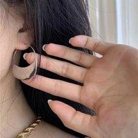 Hoop & Huggie Chic Minimalist Metal Half Moon Circle Dangle Earrings Classic Curve Semicircle Disc Titanium Steel Hook