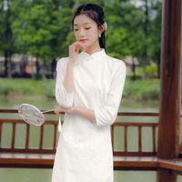 Women's Knits & Tees 2021 Autumn Winter Cotton Jacquard Wear Chinese Style Improved Slim Cheongsam Dress White Medium Length Skirt Daily