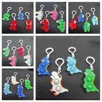 Grote kleine 2 maat Eenhoorn Dinosaurus Cartoon Fidget Simple Sleutelhanger Sensory Push POP Bubble Board Game Kids Christmas Halloween Geschenken Sleutelhanger Charms Party Gift G8072H0