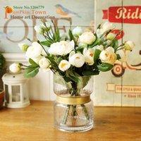 الأوروبي الحد الأدنى الرجعية كاميليا الورود الصغيرة، روزبود الزهور الاصطناعية، أنيقة الألوان فروع الورود الزخرفية الزهور
