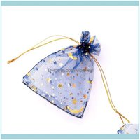 Pouches, Jewelry & Display Jewelry100Pcs Lot Navy Organza 9X12Cm Small Wedding Party Favor Candy Packaging Bags Moon Star Dstring Pouch Gift