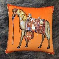 레트로 오렌지 디자이너 베개와 패션 말 인쇄 럭셔리 장식 쿠션 소프트 베개 홈 룸 장식 45x45cm