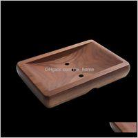 Bath & Gardennordic Portable Square Wooden Soap Dish Home El Kitchen Bathroom Aessories Ornaments Storage Box Tray With Drain Hole Dishes Dro
