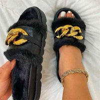 Women's Plush Slippers Woman Comfort Middle Heel Ladies Fashion Platform Sandals Shoes Fluffy Warm Chain Indoor 210914