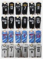 "Mens Brooklyn ""Nets"" Jersey Kyrie Kevin 7 Durant 11 Irving James 13 Harden Basquete Shorts Basquetebol Jerseys BLQCK Navy Branco"
