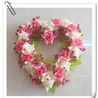 Dekoratif Çiçekler Çelenkler Kalp Şekli Gül Garland Kapı Dekorasyon Düğün Çiçek Ev Dekor Araba Ipek Çelenk Parti Malzemeleri