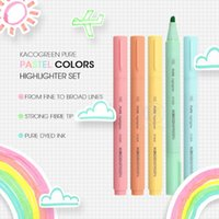 Highlighters Andstal KACO 5 Colors lot Macaroon Pastel Colors Highlighter Pen Set Color For School Marker Stationery Office Mark