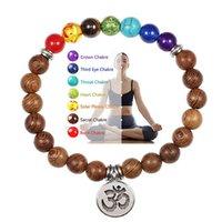 7 Chakra Bracelet Natural Lava Stone Wooden Bead Pendant Bracelets Bangles Buddha Prayer Healing Balance Charm Jewelry