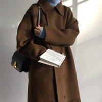 여성 겨울 두꺼운 갈색 턴 다운 칼라 슈퍼 긴 모직 코트 더블 브레스트 코튼 overcoat 우아한 카디건 재킷 outwear1