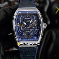 42mm Men's Collection Revolution 3 V45 SC DT Relógios Azul Dial Automático Mens Relógio de Aço Caixa De Couro Strap Hwfm Hello_Watch