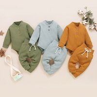 kids Clothing Sets Girls boys outfits infant toddler Solid color Tops+pants 2pcs set Spring Autumn fashion Boutique baby Clothes Z3850