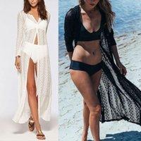 Casual Dresses Women Summer Long Sleeves Bikini Cover Up Crochet Floral Lace Drawstring High Waist Maxi Kimono Cardigan Button Down Beach Dr
