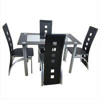 4 adet Yüksek Dereceli PVC Deri Rahat Yemek Odası Mobilya Sandalyeleri Siyah Mutfak Assesories Tabures Masası