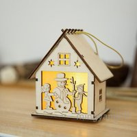 Christmas LED Wooden House Xmas Tree Hanging Ornaments Led Christmas Wood House for Home, New Year Party Hanging Pendant CC0360