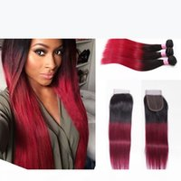 1b 99J Human Hair Bundles With Closure Straight Ombre Brazilian Hair With Closure Wine Red Human Hair Weaves With Closure 1b Burgundy