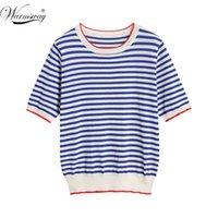 Kadın T-Shirt Imastsway İnce Örme T Gömlek Kadın Giysileri 2021 Yaz Kadın Kısa Kollu Tees Çizgili Rahat Kadın Tişört B-019 Tops