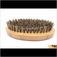 Cepillos para el cabello OEM Personalizado Logo Bambú Barba Boar Bristle Oval Facial Brush para Hombres Prepare Amazon K0YXR KVM9F