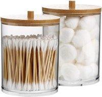Storage Boxes & Bins 2Pack 15 Oz Acrylic Qtip Holder Dispenser For Cotton Ball Pad Round Swab Holder,Bathroom Accessories Set