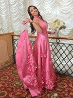Sweet Pink Satin Evening Dress High Neck A-line Long Prom Dresses for Special Occasions Custom Made