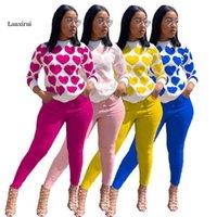 Lanxirui Casual Love Imprimir Dois Peça Set Daily 2 Mulheres Manga Completa Top Pant Conjuntos Calças de Mulheres Capris