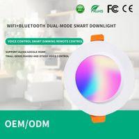 Downlights Juss Fort Tuya Wifi + Bluetooth Dual-Mode Smart Downlight LED Colorido Control Remoto Incrustado Sombrero de paja Techo