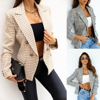 Women's Suits & Blazers Elegant Office Lady Plaid Blazer Coats Casual Long Sleeve Double Breasted Print Slim Suit Jackets For Women 2021 Aut