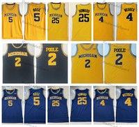 2021 Michigan Wolverines Koleji Basketbol Formaları 2 Jodan Poole 5 JALEN Gül 4 Chris Webber 25 Juwan Howard Vintage Sarı Dikişli Gömlek S-XXL