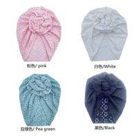 20pc lot Lace Headband Turban Round Knot Baby Girl Elastic Hair band For Newborn Lace Beanie Caps Kid Head Wrap Hair Accessories