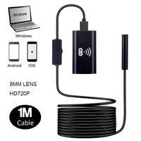 Câmeras F99 1M Cabo Hard WiFi 720P Micro USB Câmera Sem Fio Inspeção Endoscópio 8mm Lente 6 LED Luzes Snake Endoscópico