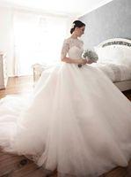 레이스 슬리브와 함께 럭셔리 공주 웨딩 드레스 Bateau Appliques 엠파이어 신부 드레스 무슬림 웨딩 드레스 라인 채플 기차