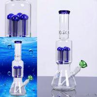 Best Selling Glass Water Bongs 38cm Alto 14.4mm joelhos conjuntos de fumar tubos de água tubos de água Bubbler Recycler Vidro Bongs Água Tubos