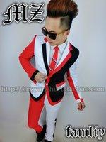 Neue Herren Sänger DJ Bigbang Zhi-Long GD Rot Und Schwarz Anzug Jacke Näh Anzug Sänger Kleidung Kostüme Anzug / S-5XL