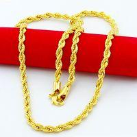 """Precio bajo 14K Oro amarillo Filled22 """"24"""" 26 """"28"""" 30 """"Nudo Collar de cuerda para hombre Cadena GF Cadena de eslabones de torsión 3mm4mm5mm de ancho Christmasgift"""