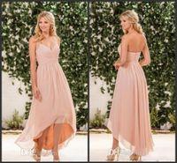 2018 새로운 홍당무 핑크 시폰 하이 낮은 신부 들러리 드레스 저렴한 홀터기 주름기 뒷면 지퍼 롱 비치 컨트리 가든 하녀 명예 가운 302