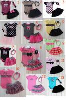 12 компл. / лот 13 цветов новорожденных девочек 3-шт юбка наряд набор ползунки набор Принцесса точка Леопард комбинезон боди + рябить юбка платье + оголовье 0-2T