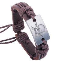 Vendita calda Holloween Party Jewelry Alloy Skull Head Charm Bracciale in pelle regolabile Bracciali Punk Bangle Bracelet