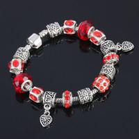新しい到着の心の魅力のブレスレットのための女性のためのPulseira 925銀の宝石類の赤い赤DIYガラスビーズブレスレットトップ販売7色