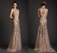 2019 Sparkly Gold Mermaid Abendkleider Krikor Jabotian Sheer Durchsichtig Applique Abendkleid Emboridery Long Formal Dubai Gowns