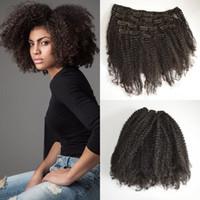 4A 4B 4C AFRO Kinky 인간의 머리카락 확장에서 곱슬 클립 브라질 버진 레미 헤어 클립 ins Beach Curl Hair Extensions G-easy