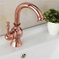 Single Handle Deck Mounted Basin Faucets Rose Gold Bathroom ...