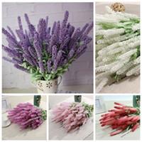 1 Buket Yapay Lavanta Ipek Çiçek Gelin Buketleri Bahçe Düğün için Sahte Çiçek Çiçek Ev Dekorasyon 6 Renkler 12 Kafaları