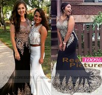 Designer Sexy Mermaid Prom Party Dresses with Gold Appliques...