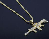 18 karat Gold Überzogene Rapper M4 submachellone gun Halskette 75 cm Gold Farbe HIPHOP New York herren Anhänger halsketten 2017 Juli